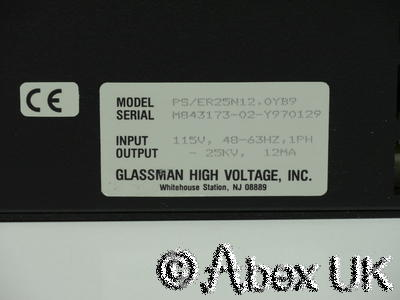 Glassman ER 25N12 High Voltage Power Supply 0-25kV 0-12mA 300w Applied Materials