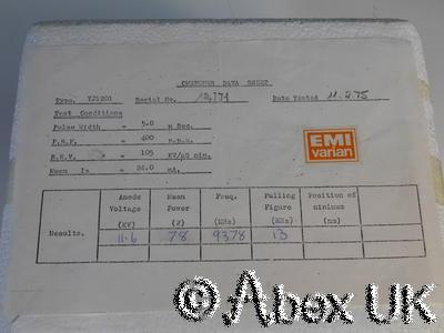 EMI / Varian YJ1201 X- Band 9.375GHz Radar Magnetron NOS/NIB (1975)